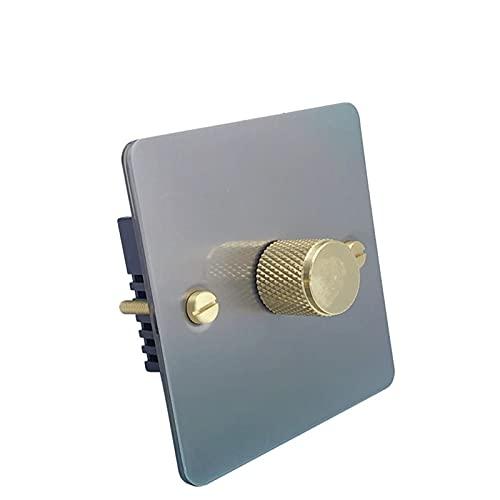 HLY-CASE Interruptor de regulador de Color Blanco e Interruptor de luz de la Perilla de Plata del Panel de Acero Inoxidable Diseño Elegante