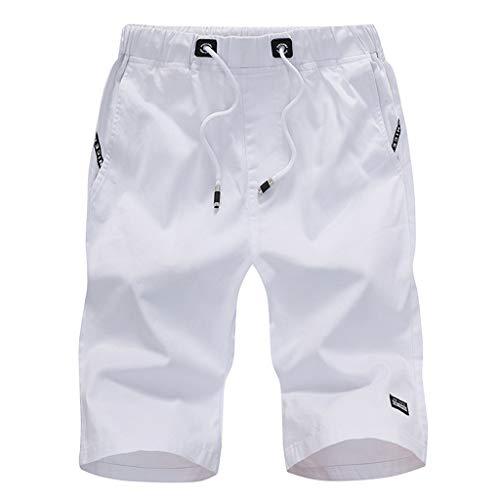 TIMEMEAN Shorts Herren Sommer Elastische Taille Baumwolle Fünf Cent Mit Gürtel Sport Kurze Hosen