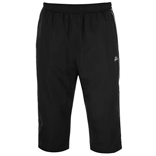 Lonsdale Herren 2 Stripe Shorts Hose 3/4 Sporthose Training Schwarz XL
