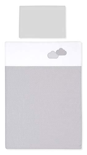 Amilian® Baby Bettwäsche Bettset Kinderbettwäsche 100 x 135 cm (40x60 cm) für Babybett MIT STICKEREI (Pünktchen KLEIN Grau/Wolken Grau)