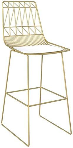 Taburetes sillas de escritorio, Moda Hierro forjado soporte metálico taburete Cocina Desayuno heces Silla Diseño Cojín (Size : 65cm)