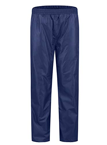 "SWISSWELL Men's Rain Pants Waterproof Foul Weather Rainwear for Cycling Hiking Travel (Navy, Large(Length 44.5""))"