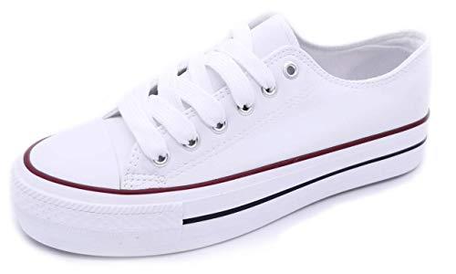 Zapatillas Blancas Negras Mujer con Plataforma Polipiel Zapatillas Suela Doble de Material Bambas Deportivas Plataforma Mujer