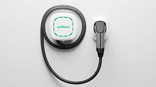 Wallbox Pulsar Cargador para Coches eléctricos . Conector tipo 2. Potencia máxima 7,4 kW. (Blanco, Cable 5 m)