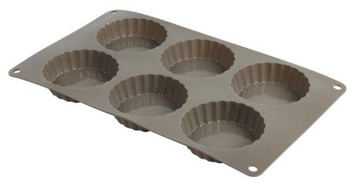 Crealys 513007 Moule à 6 Tartelettes en Silicone Candy Gris 29 x 17 x 2 cm