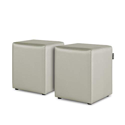 HAPPERS Pack 2 Puff Cubo Polipiel para Salón o Dormitorio Ceniza