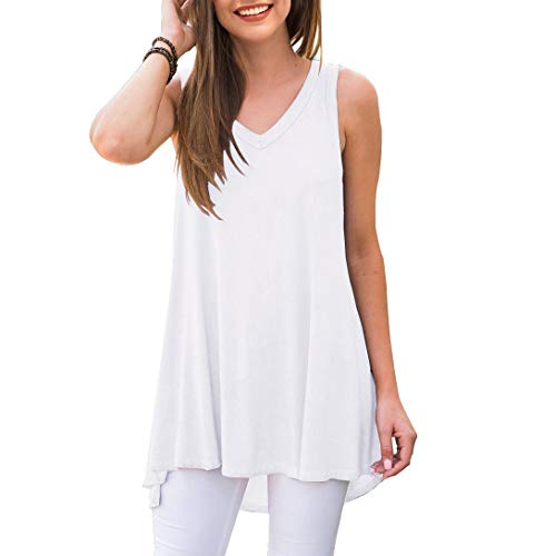 AWULIFFAN Women's Summer Sleeveless V-Neck T-Shirt Short Sleeve Sleepwear Tunic Tops Blouse Shirts (White,X-Large)