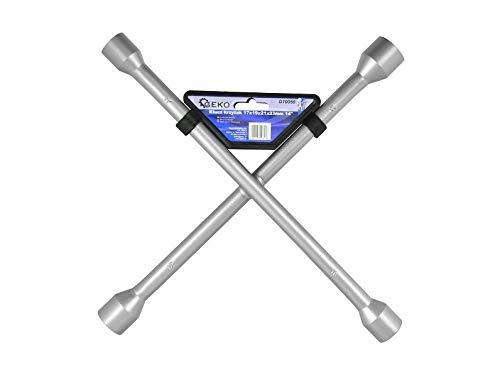 Geko g10050 kruis rand sleutel verchroomd 17 x 19 x 21 x 22 mm 35,6 cm zilver