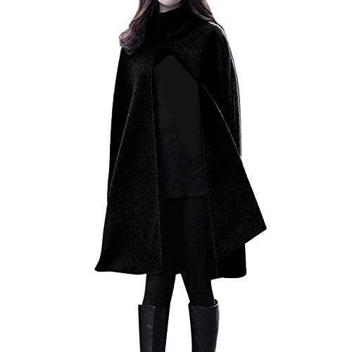 Damen Langer Umhang, Frauen Winter Warme Wolle Oversize Poncho Kap Trenchcoat Open Front Cardigan Jacke Mantel Parka Outwear Winterjacke(Weihnachten Ladenangebot) (42EU=Tag 2XL, schwarz)