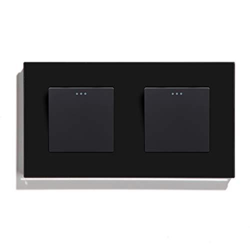 BSEED Interruptor de luz Interruptor de Palanca de Marco de Vidrio Negro Doble 1 Gang 2 Vía 157mm Interruptor de Luz de Pared Sin Tornillos