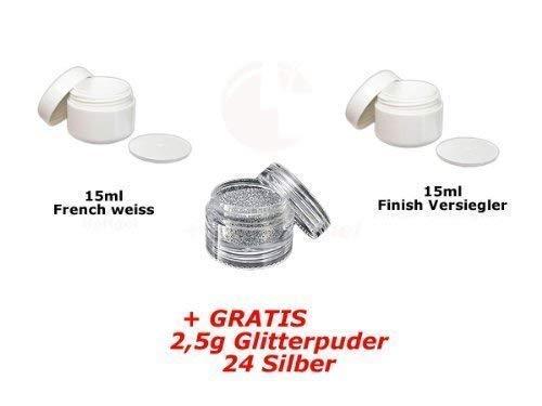15ml Français Blanc + 15ml FINITION + glitterpuder 12 GRATUIT