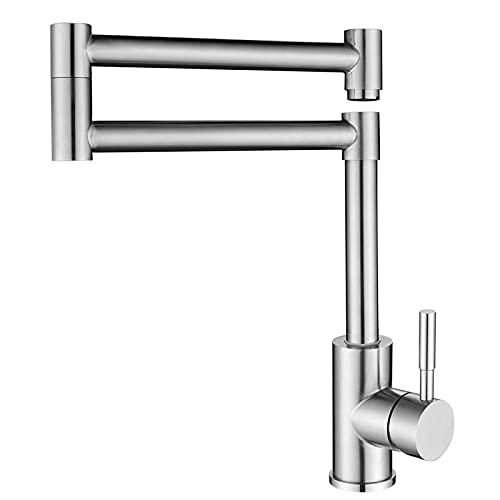 xjw Grifo de cocina de acero inoxidable 304 plegable y giratorio para fregadero de agua en frío y caliente, proceso de dibujo de grifo de agua, estilo moderno y simple 2021/5/11 (tamaño : sin tubería)