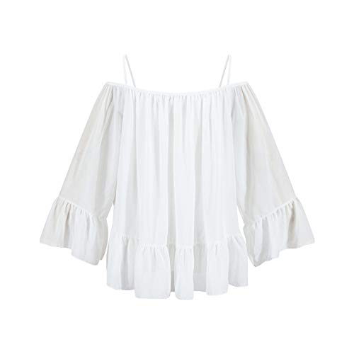 Cnsdy Damesoverhemden Losse ruches Chiffon shirts Off-the-shoulder stiksels halter tops Top met lange mouwen