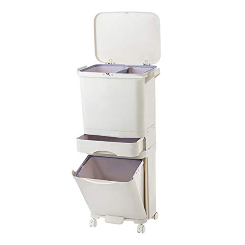 Dry and Wet Separation Trash Can, Vertical Waste Separation System with Wheels, Recycling Pedal Bin for Kitchen Waste with Large Recycle Compartments, 42L Rubbish Capacity Trash Garbage Can (42L)