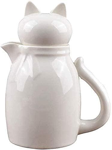 n.g. Wohnzimmeraccessoires Milchaufschäumkanne Servierkrug Schwarz-weiße Keramik Milchkännchen Kanne mit Deckel Kaffee Milchtassen Milchkännchen (530ML/17.9oz) (Color : White)