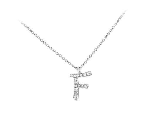 Carissima Gold Collar de mujer, de oro blanco de 9K con diamantes y colgante, letra F