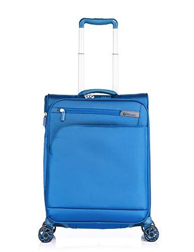 Verage Visionary Reisekoffer Handgepäck   4 Rollen Stoff Trolley mit TSA-Schloss   Blau, S-(19.5