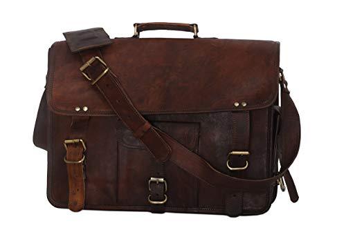 15 Inch Vintage Men's Brown Handmade Leather Briefcase Best Laptop Messenger Bag Satchel (15 inch)
