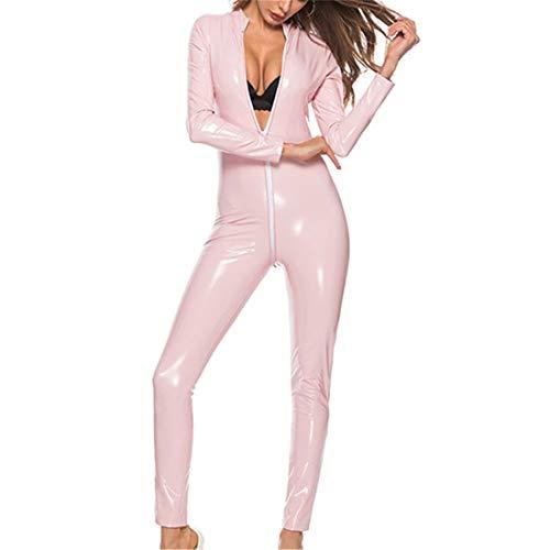 GDOV Enterizo sexy de piel sintética para mujer con aspecto de mojado para clubes, fiestas nocturnas, manga larga, cierre de cremallera, ropa de dormir, ropa de dormir, ropa de baile