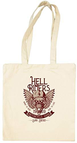 Hell Riders Biker Skull Bolsa Tote Blanca