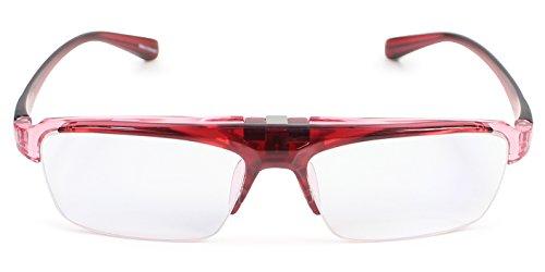 パール 跳ね上げ 老眼鏡 リーディンググラス ブルーライトカット CSTADO スクエア レッド +1.5 度数 LT-P301-1CWI +1.5