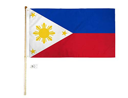 American Wholesale Superstore 3x5 3'x5' Philippines Polyester Flag with 5' (Foot) Flag Pole Kit with Wall Mount Bracket & Screws (Imported)