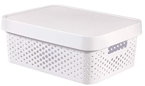 CURVER 04753-N23-00 Boîte à Rangement Infinity Points avec Couvercle 11L en Blanc, Plastique, 36,3x27x22,2 cm