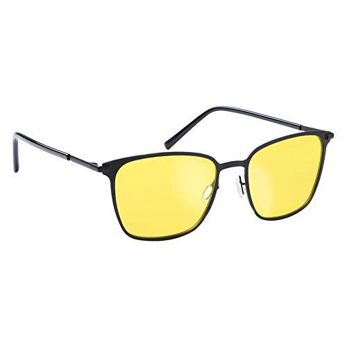 Occffy Herren und Damen HD Nachtfahrbrille für Autofahren Anti Glanz Polarisiert nachtsichtbrillen Gewidmet Nachtbrille OC0864 (Schwarzer Mattrahmen mit gelber Linse)