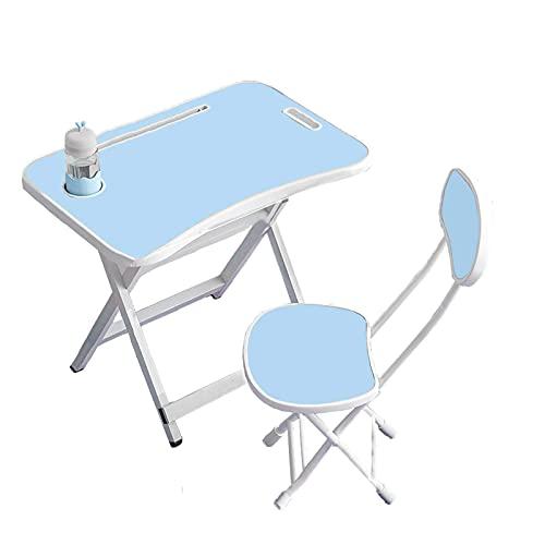 Juego de Escritorio y Silla de Estudio, para Niños con Soporte, Mesa de Estudio en la Escuela y el Hogar- blue