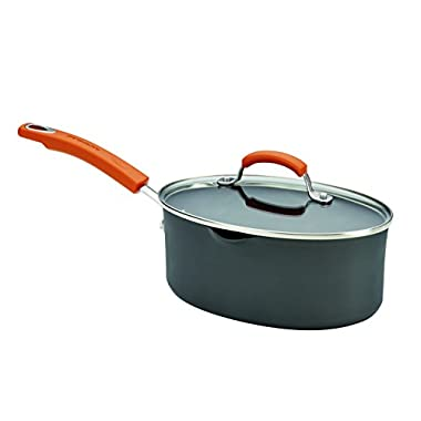 Rachael Ray Hard Anodized II Nonstick Dishwasher Safe 3-Quart Covered Oval Saucepan with Pour Spouts