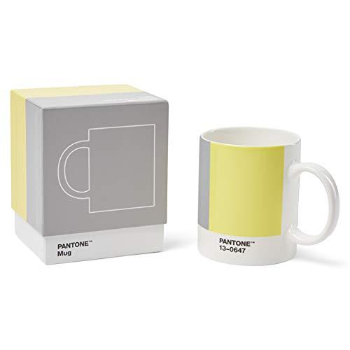 Pantone Porzellan Kaffeetasse, dickwandig, Kaffeebecher spülmaschinenfest, 375ml, inkl. Geschenkbox, Illuminating 13-0647 & Ultimate Gray 17-5104, CoY2021