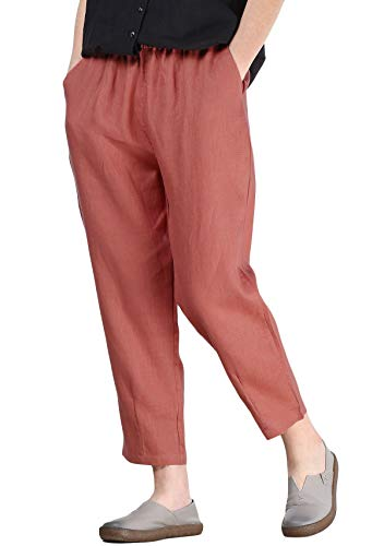 Mallimoda Donna Cropped Pantaloni Larghi Estivi Casual Pantalone in Lino Arancia XL