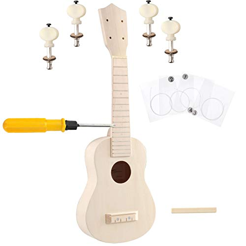 ADM DIY Ukulele Kit Soprano Wooden 21 Inch for Kids Beginner