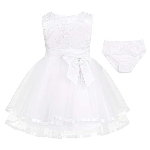 iiniim Robe Princesse Baptême Fête Partie Courte Bébé Fille Brodé Fleurs 3D Coton sans Manches...