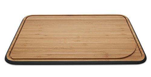 Pebbly NBA099 Planche à Découper avec Rigole Grand, Bambou, Noir, 33 x 40,6 x 1,6 cm