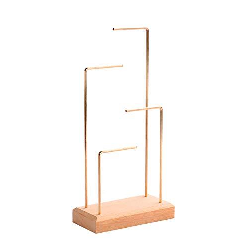 Fransande Soporte de exhibición para pendientes y pendientes de metal, de madera maciza, soporte de exhibición de joyas de color madera