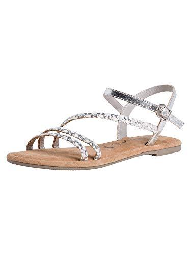 Tamaris Damskie sandały 1-1-28113-26 z rzemykiem, srebrny - Srebrne Wooven - 40 EU