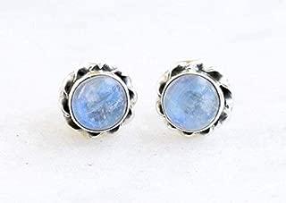 Rainbow Moonstone Stud Earrings For Women - Moonstone Stud Earrings Sterling Silver