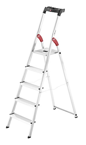Hailo 8160-507 L60 StandardLine Alu-Sicherheits-Stehleiter, Ablageschale, belastbar bis 150 kg, silber, 5 Stufen
