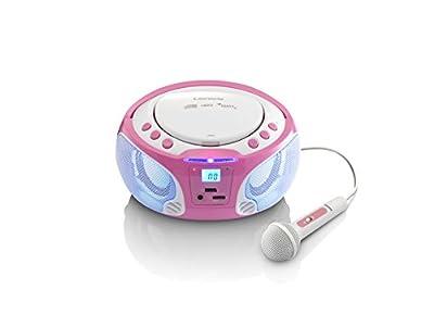 Lenco Kinder CD-Player SCD-650 mit Mikrofon, Karaoke-Funktion und Lichteffekten (CD / MP3, USB, AUX, LCD-Display, UKW Radio), rosa/weiß