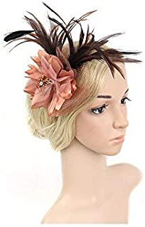 UKYLIN Charming Fascinator Netting Feathers Flower Floral Headband Cocktail Hat for Women (Coffee)
