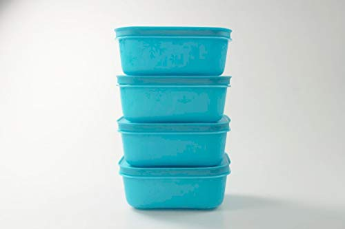 Tupperware Gefrier-Behälter 450 ml (4) türkis flach EIS-Kristall Eiskristall MIT Geschenk 36704