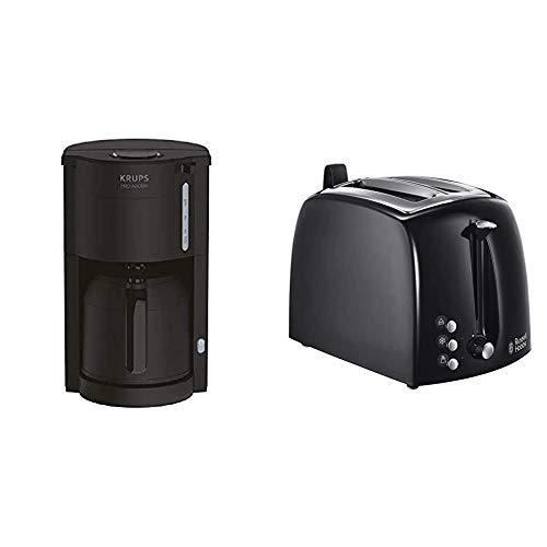 Krups Pro Aroma KM3038 KM303810 Filterkaffeemaschine 1 L Fassungsvermögen mit Thermokanne, (800 Watt) schwarz & Russell...