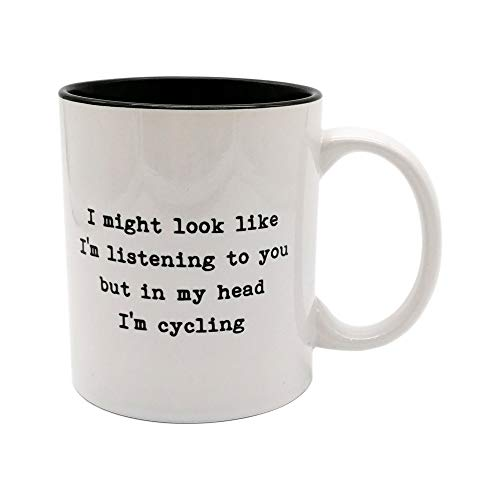 Worry less design Potrei look like I' m Listening to you but in my Head I' m ciclismo–Funny Cycling tazza