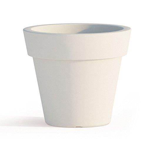 Vaso e Sottovaso Begonia in Resina Tondo H45 Bianco Ø 50Cm