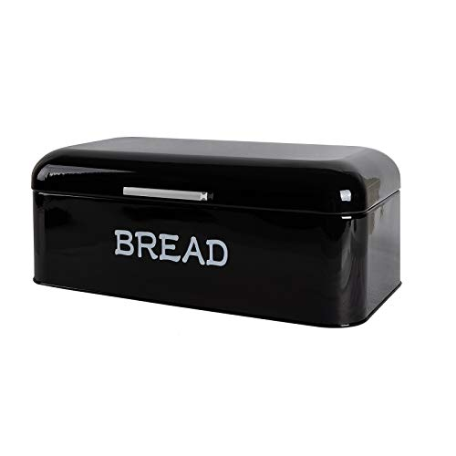 Kitchen Bread Box, Stainless Steel Bread Bin Storage Container Holder For Loaves, Pastries & More, Antique Bread Box (Black)