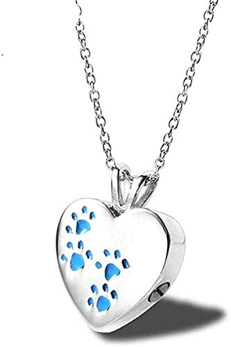 ZGYFJCH Co.,ltd Necklace Woman Necklace Delicate Necklace Silver Heart Shape Urn Ashes Pendant Stainless Steel Five Colors Pet Paw Memorial Cremation Animal Keepsake Necklace Gift for Women Men Gift
