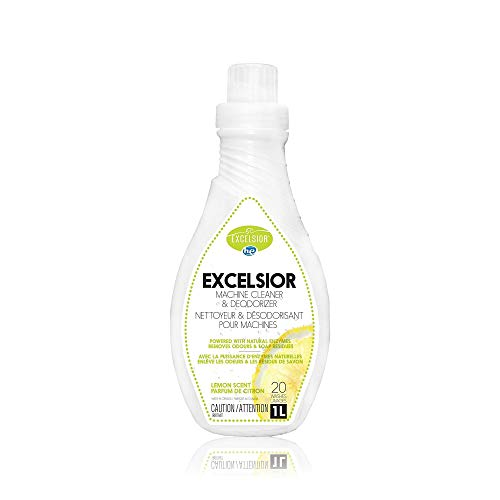 Excelsior HE Machine Cleaner and Deodorizer for 20 cleanings of high Efficiency washers – 1 Liter Natural and Eco-Friendly