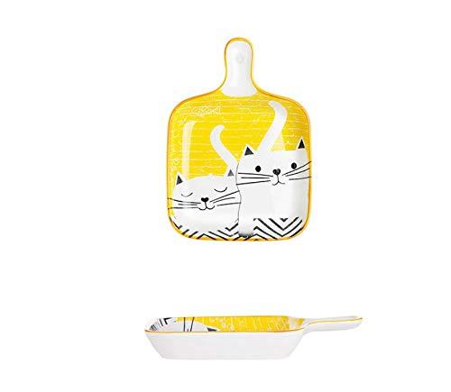 Utensilios para hornear de placa de cerámica con asas para platos domésticos bandeja para ensaladas utensilios para hornear para el hogar de niños de 9 pulgadas