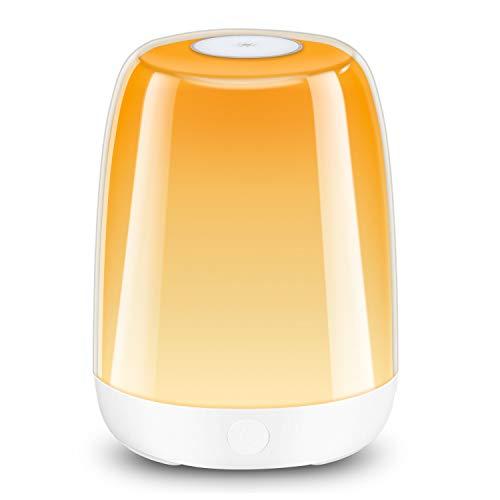 LED Tischlampe, Macrimo Nachttischlampe Nachtlicht Stimmungslicht Dimmbar mit Touch-Steuerung, Warmweißes Licht & RGB Farbwechsel, USB Wiederaufladbar für Schlafzimmer Wohnezimmer Camping Geschenk
